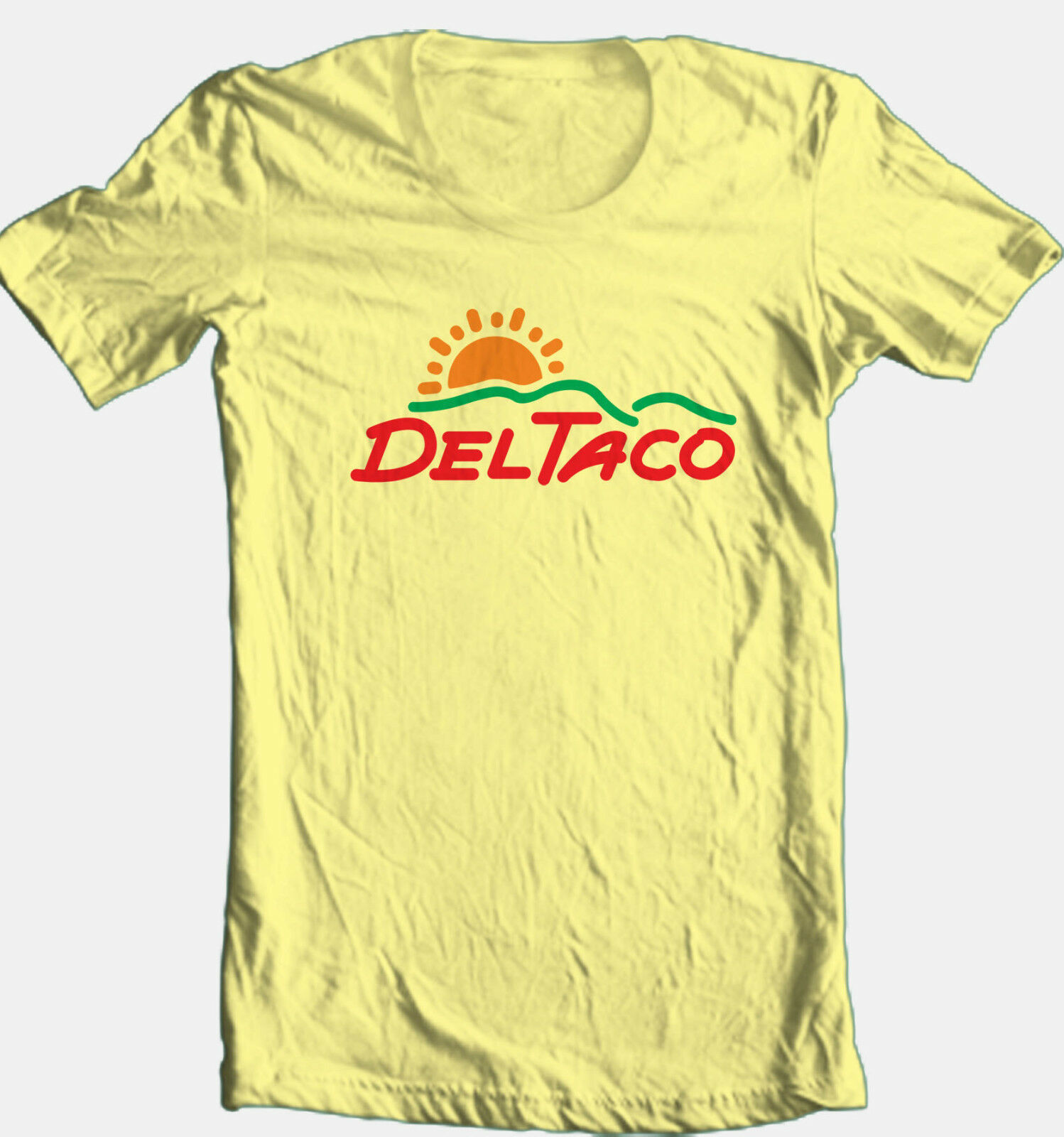 Del Taco T-shirt retro vintage style 70's fast food cotton graphic yellow tee