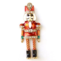 Brooch Christmas Nutcracker Doll Soldier Red Good Luck Unisex Suit Lapel Pin  - $9.99