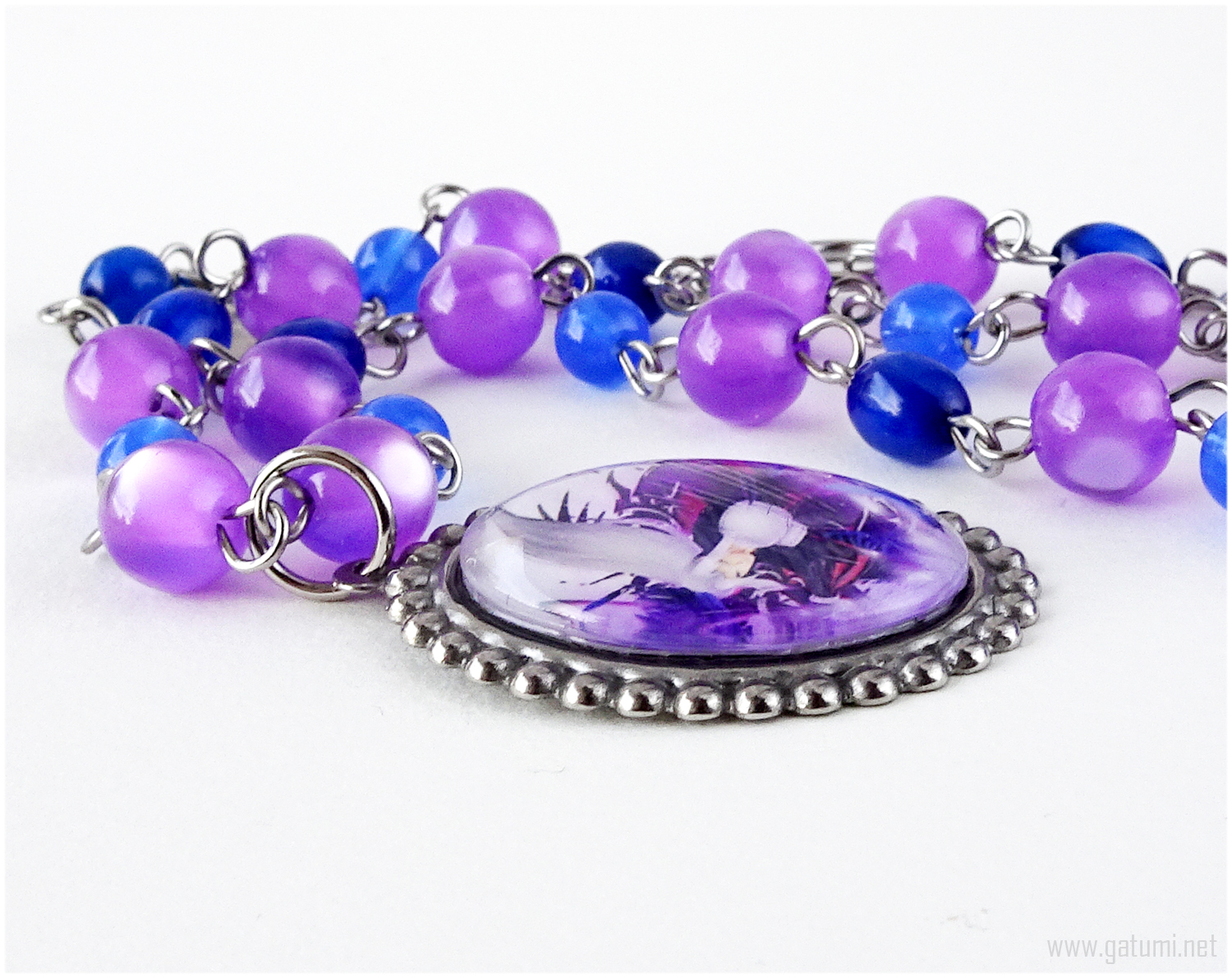 Sephiroth Cameo Necklace, Purple, Blue, Silver, Stainless Steel, Handmade