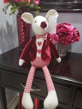 Valentines Day Boy Mouse Doll Wearing Velvet Jacket Shelf Sitter Doll De... - $32.99