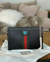 Gucci Ophidia Web Stripe Shoulder Bag in Black Textured Leather Msrp $1980 - $1,583.99