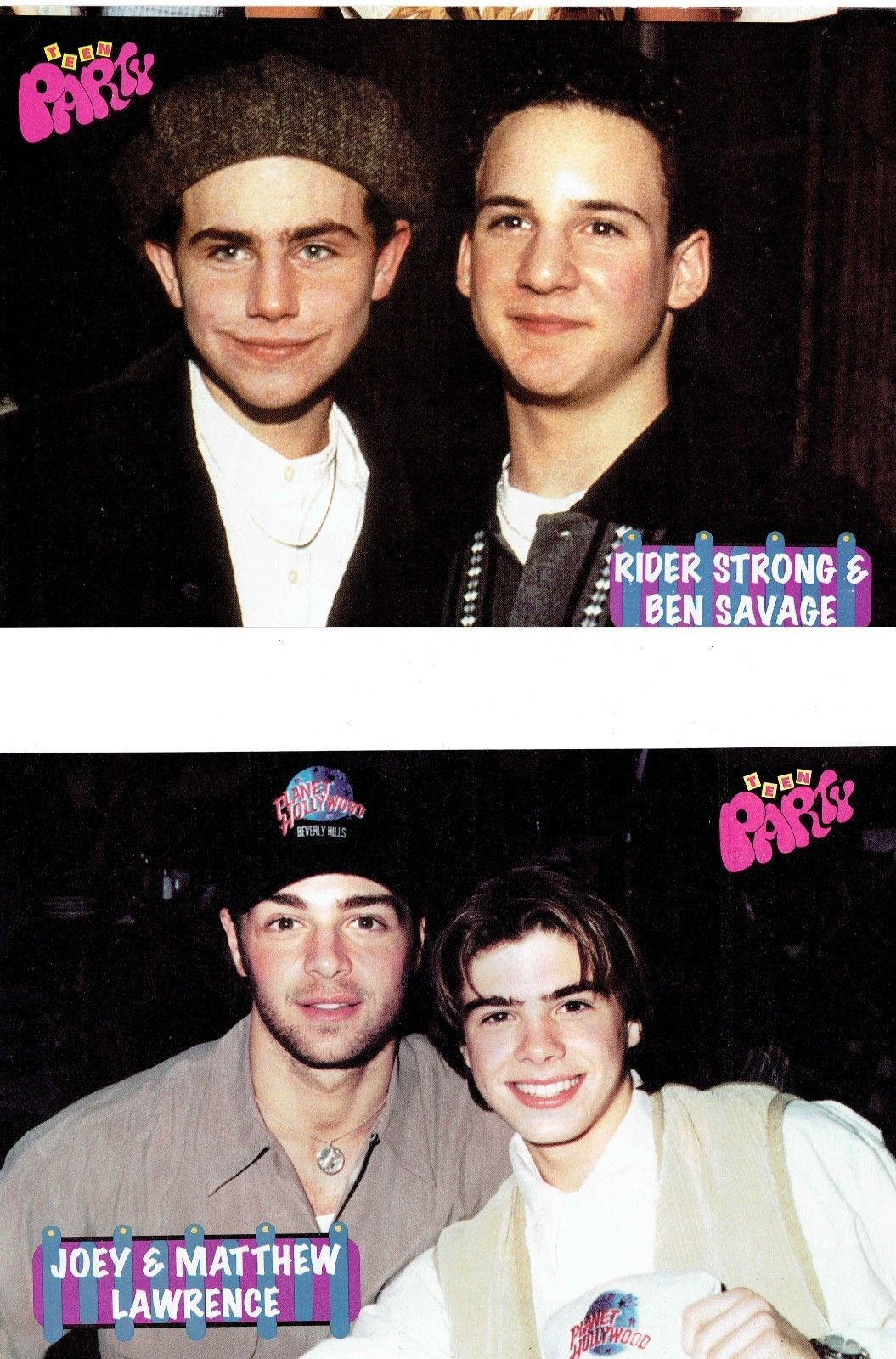 Ben Savage Rider Strong Joey Lawrence teen magazine pinup clipping Tiger Beat