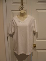 new in pkg elements v neck white short sleeve tee shirt  cotton blend  m... - $9.89