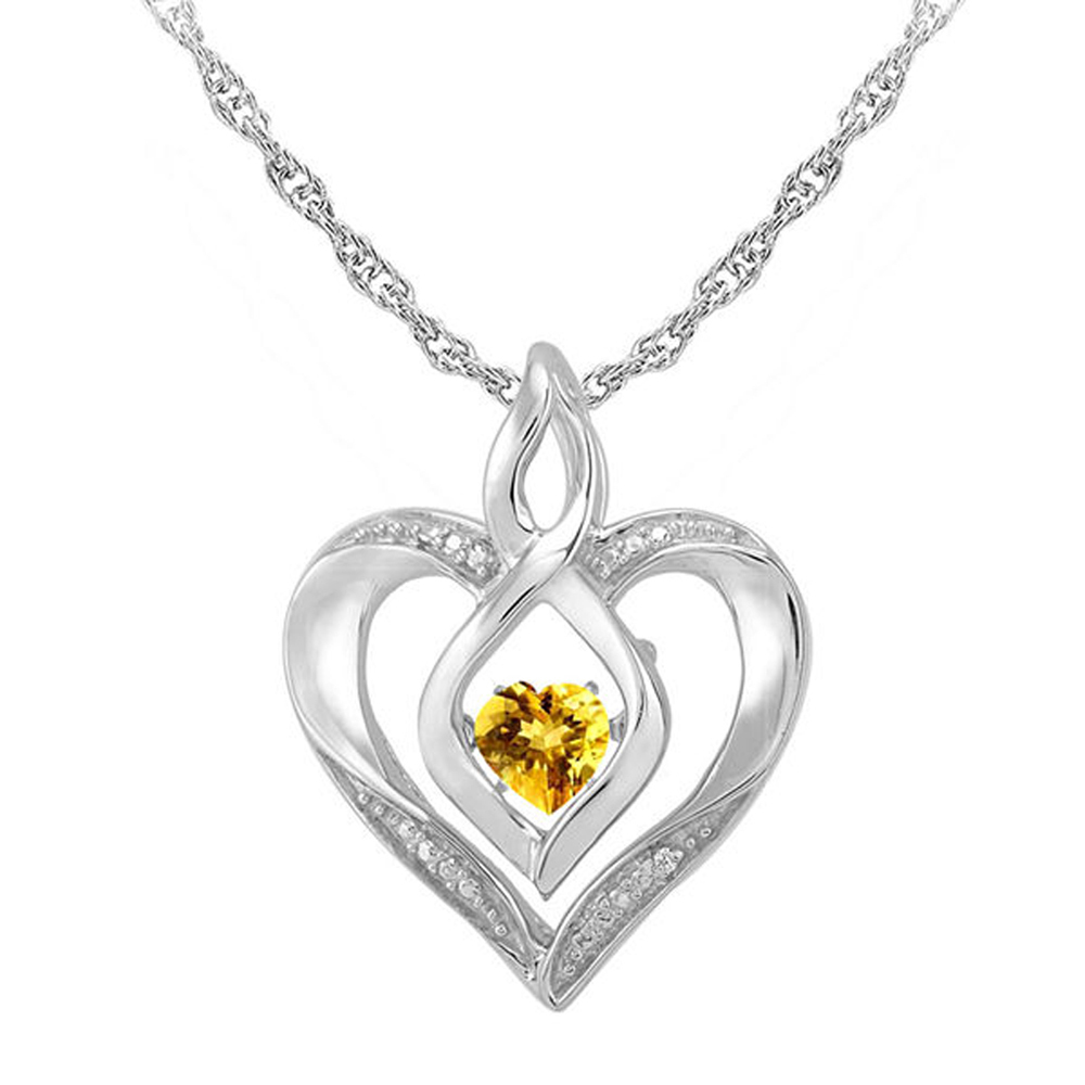 "Primary image for Citrine & Sim.Diamond-Accent 14K White Gold Fn Heart Pendant 18"" Chain Necklace"
