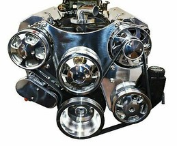 Chrome Small Block Chevy Serpentine Front Drive System Complete W P/S Reservoir