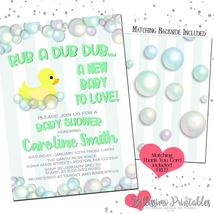 Rubber Duck Bubbles GREEN Baby Shower Invitation PRINTABLE Personalized - £11.55 GBP