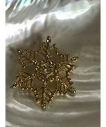 Estate Ornate Goldtone SNOWFLAKE w Clear Rhinestone Accents Pin Brooch -... - $16.69