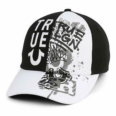 True Religion Men's Embroidered Adjustable Strapback Graffiti Dad Hat Cap Black