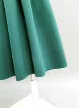 Emerald Green Midi Holiday Skirt Outfit Women Pleated Midi Skirt with Pockets image 6