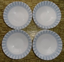 Lot 8 white and light blue cereal bowls and saucer chip resistance corel... - $18.67