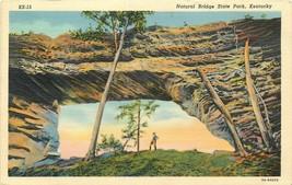 Linen KY Postcard L438 Cancel 1940 Natural Bridge State Park Man Curt Teich - $5.08