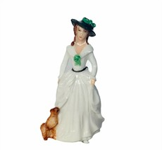 Franklin Mint ladies of Fashion miniature figurine vtg porcelain Charlotte dog - $23.17