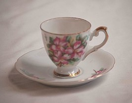 Classic Style Demitasse Tea Cup & Saucer Set Pink Dogwood Flowers Unknow... - $14.84