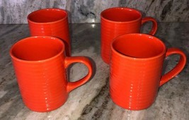 Royal Norfolk Orange Stoneware Coffee Mugs Cups-Set Of 4-SHIP 24 HOURS Brand New - $39.48