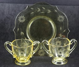 Set of 3 Pieces of Jubilee, Cutting No. 1200, Topaz, Plate with two Sugars - $15.00