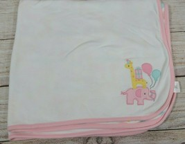 Gymboree Baby Blanket Elephant Giraffe Zebra Balloons Pink Yellow 2017 2... - $38.79