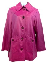 St. John Coat Collection Dark Pink Leather Jacket S - $181.98