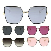 Womens Metal Rim Squared Rectangular Butterfly Sunglasses - $12.95