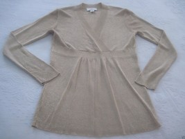 LOFT ANN TAYLOR LADIES GOLD METALLIC LS V-NECK CROSS-OVER FRONT SWEATER-... - €5,89 EUR