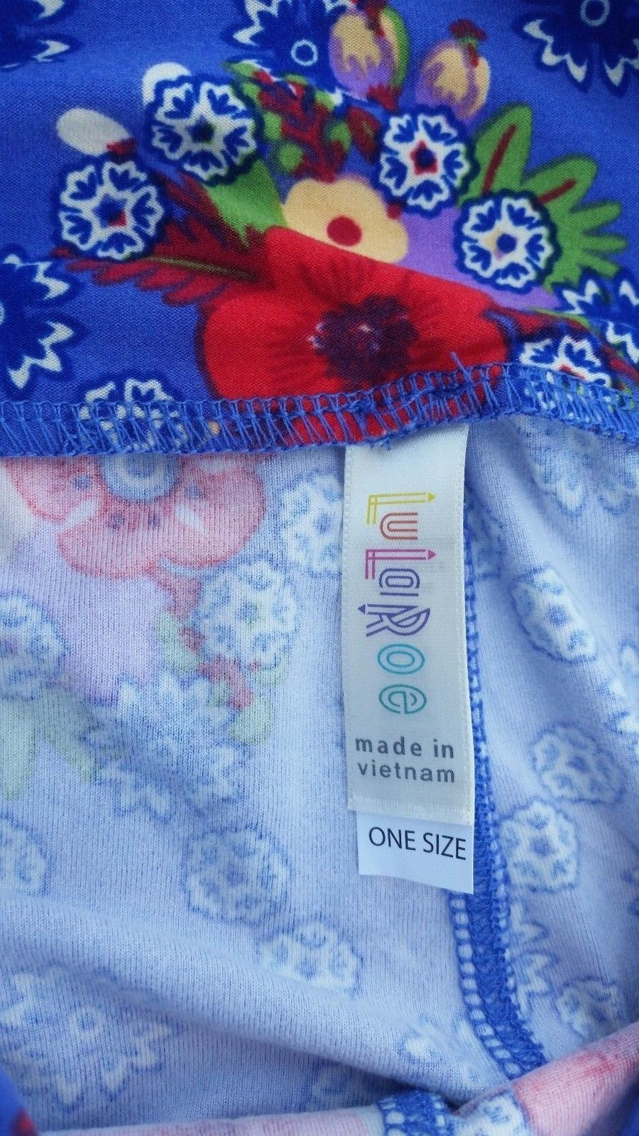 Lularoe OS One size Purpley Blue Floral Leggings Brand New So Cute! image 3