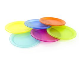 6 Pcs Colorful Reusable Plastic Picnic Plates Set Assorted Colors - $7.84