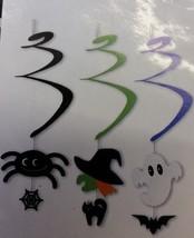 3x Halloween Spiral Hanging Decoration  Spider - Witch - Ghost - Web - C... - $1.90