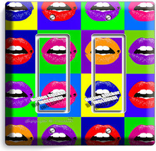Vivd Lips Pop Art Double Gfci Light Switch Cover College Dorm Room Office Decor - $9.71