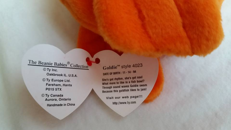 TY Beanie Babies Goldie PVC PELLETS Style # 2 TUSH TAGS, RARE ERRORS Retired