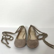 Jessica Simpson Lace Up Ballet Flats Size 9.5M Suede Gennyfer - $35.52