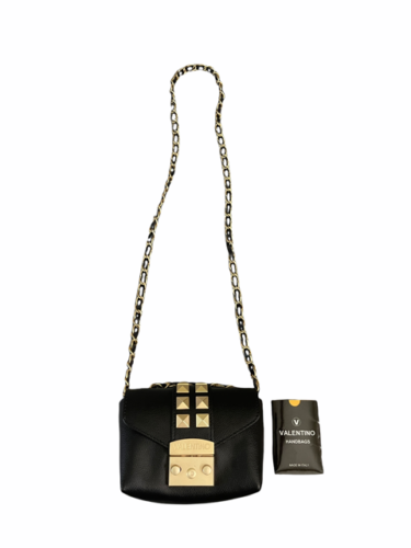 Valentino Black Leather Gold Stud Rockstud Small Glam Lock Crossbody Bag Purse