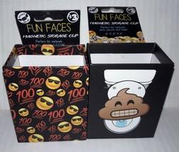Lot of 2 Locker Magnetic Storage Cups Keep It Real & Poo Emoji Board Mag... - $5.24