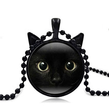 Time gems 3 colors chain black cat picture vintage necklace pendant message jewelry for thumb200