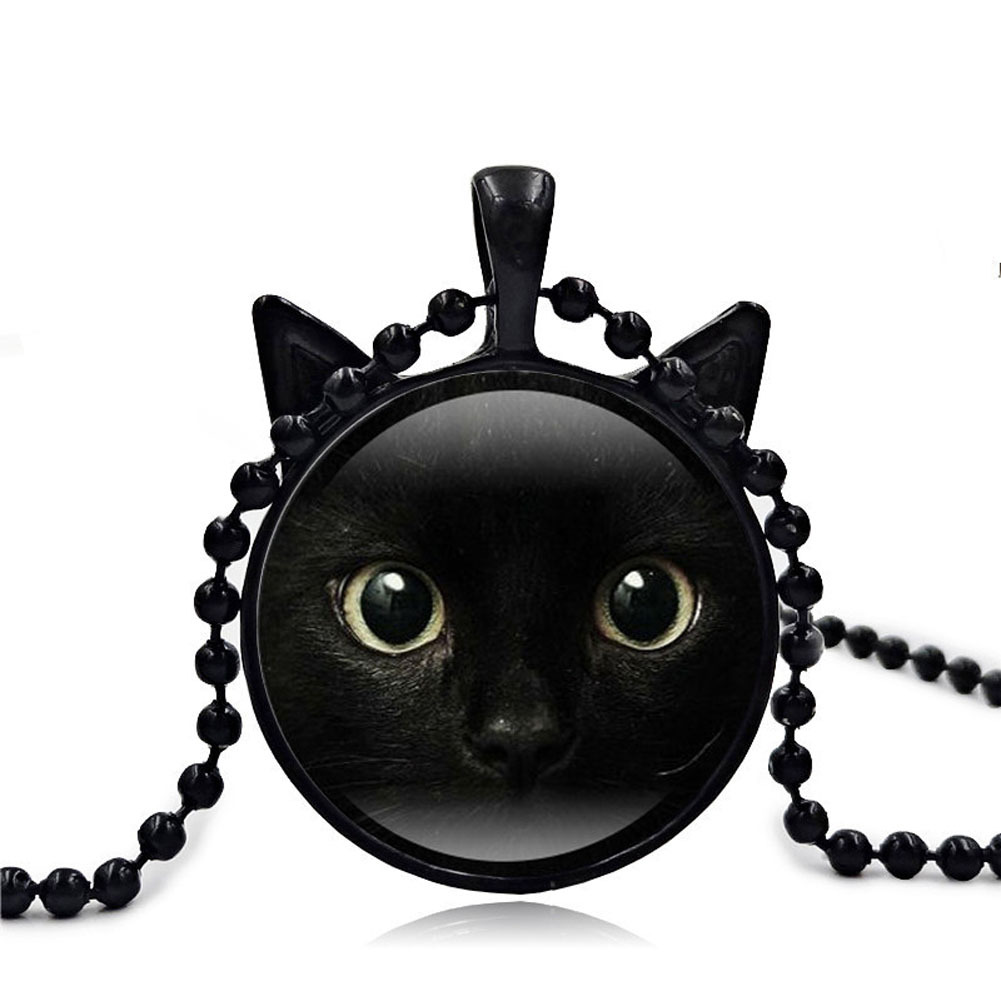 Ue glass time gems 3 colors chain black cat picture vintage necklace pendant message jewelry for