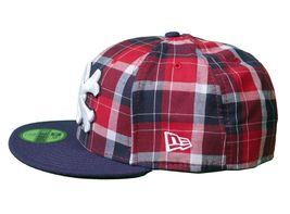 Dissizit Dx11 Bones Navy Red Plaid New Era 59FIFTY Fitted Baseball Hat Cap NWT image 3