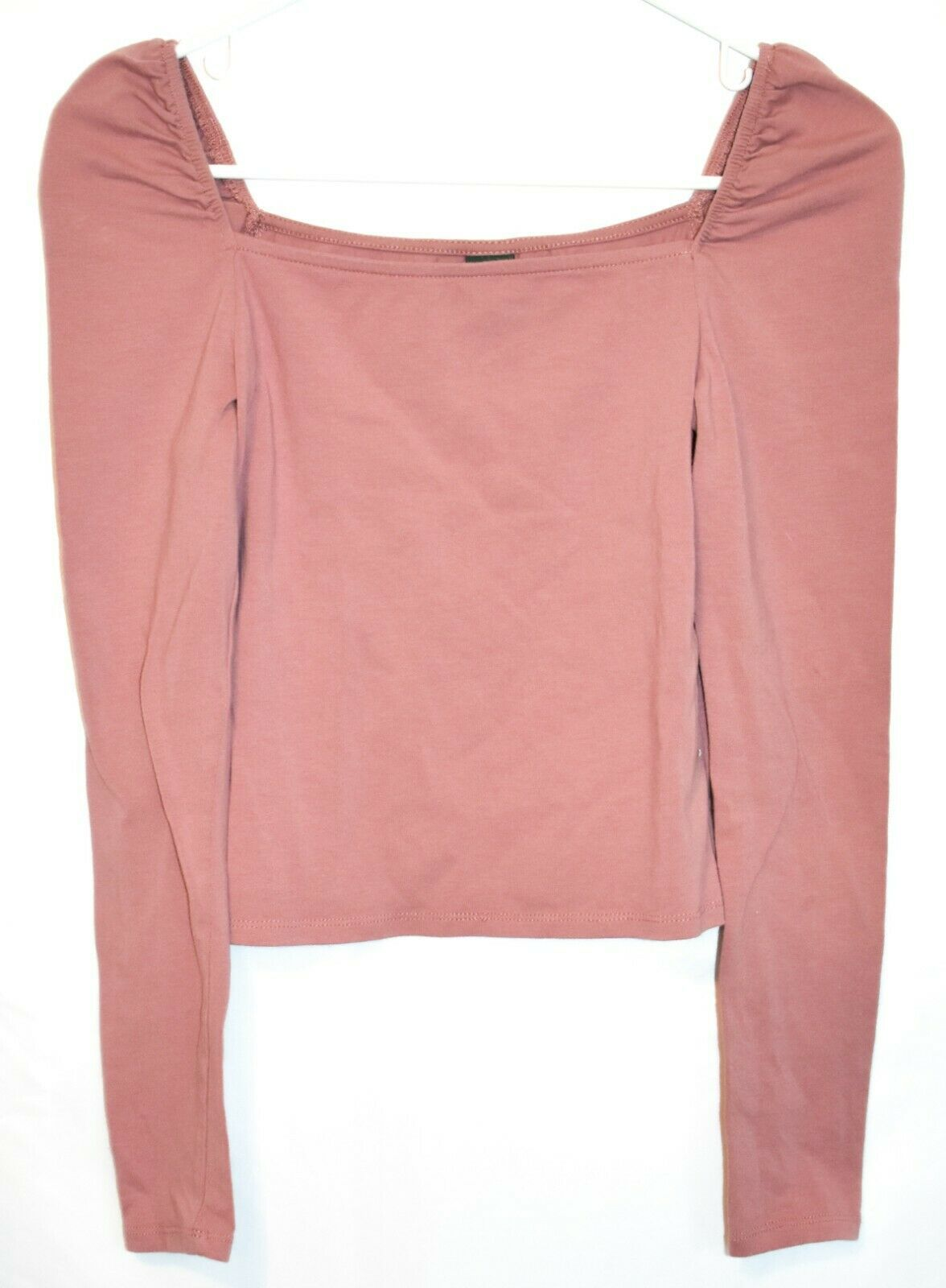 Wild Fable Women's Mauve Pink Square Neck Crop Long Sleeve Shirt Size S