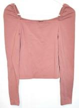 Wild Fable Women's Mauve Pink Square Neck Crop Long Sleeve Shirt Size S image 1