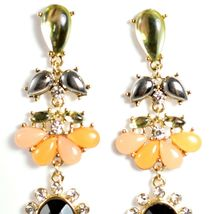 """Mode Peach & Black Lucite Bead 2.5"""" Drop Post Dangle Earrings New with Tag image 4"""