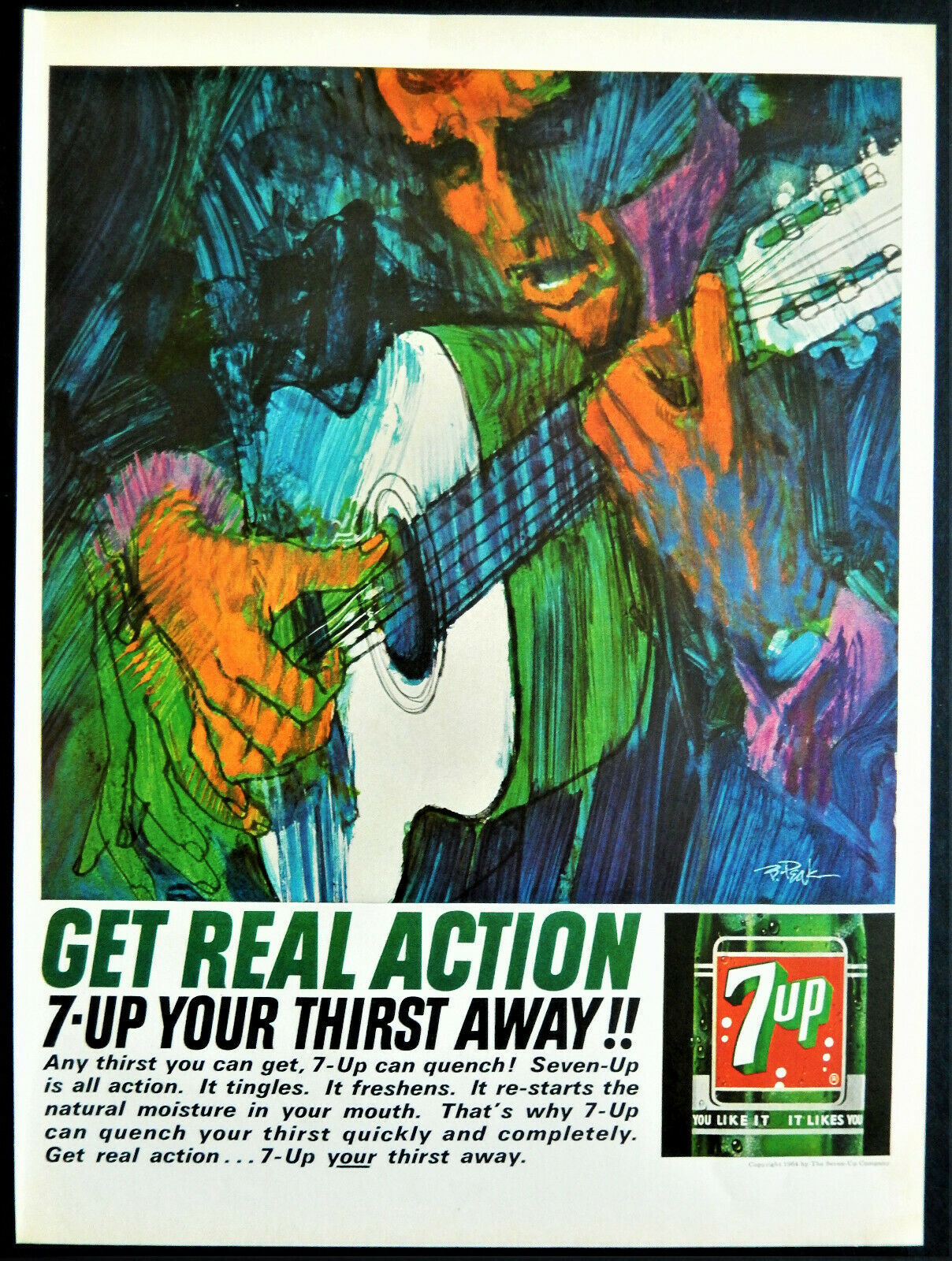 Primary image for  Vtg 1964 7UP 7 up soda guitar player Bob Peak artwork advertisement print ad