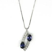 18K WHITE GOLD NECKLACE, ALTERNATE OVAL BLUE SAPPHIRES & DIAMONDS PENDANT image 1