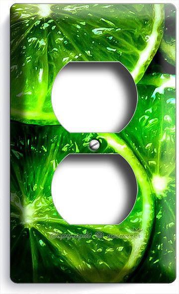 GREEN LIME SLICE OUTLET WALL PLATE COVER VEGAN VEGETARIAN KITCHEN ROOM ART DECOR