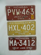 Lot of 3 1969 1970 1971  Michigan Great Lake State Auto License Plates - $36.99
