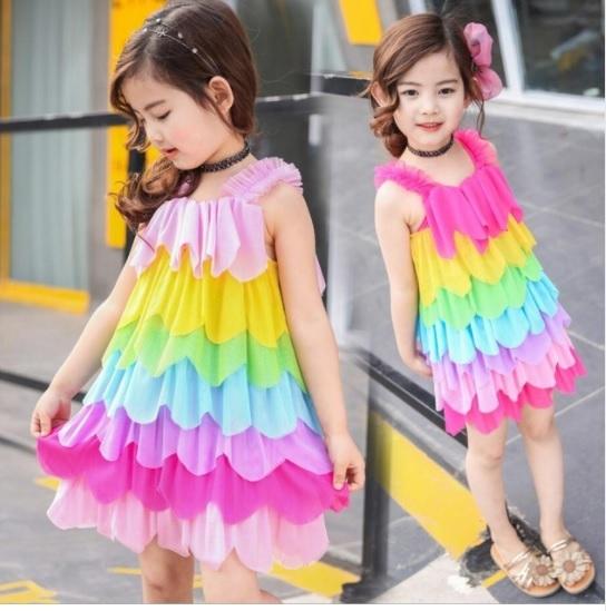 2017 Girls Dress Rainbow Kid Princess Summer Beach Girls Children Sweet Cute for sale  USA