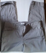 New York & Company Gray Cuffed Capri Pants Button Front Womens size 10 - $15.14
