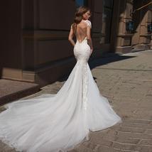 Sexy Open Back Beaded Sequined Lace Slim Elegant Mermaid Wedding Dresses image 2
