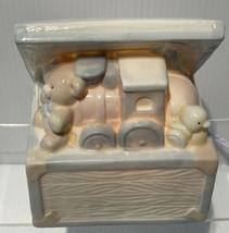 Vtg Enesco Toy Box Night Light 1988 Train Duck Bear Pink Blue Cream Works - $11.83