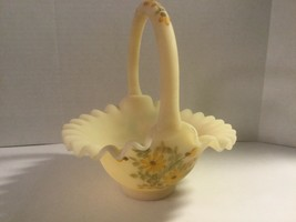 VINTAGE FENTON CUSTARD BASKET HAND PAINTED & SINGED LINDA EVERSON, YELLO... - $58.00