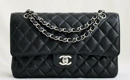 "CHANEL MEDIUM 10"" BLACK Quilted CAVIAR Leather Double Flap Bag SH AUTHEN... - $4,692.48"