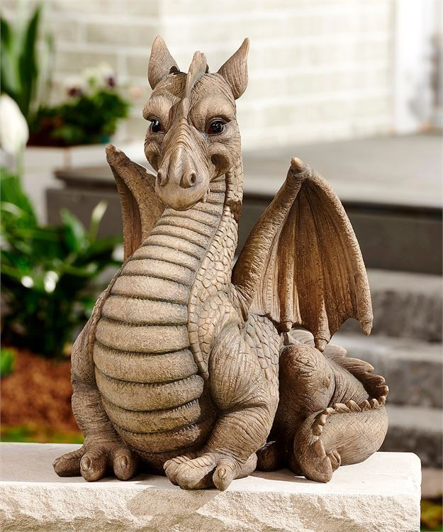 "20"" Large Medieval Times Dragon Design Statue Polystone Excellent Detailing NEW"