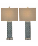 "Urban Designs Blue Trellis Ceramic 29"" Table Lamp Set of 2  78466  - $166.11"