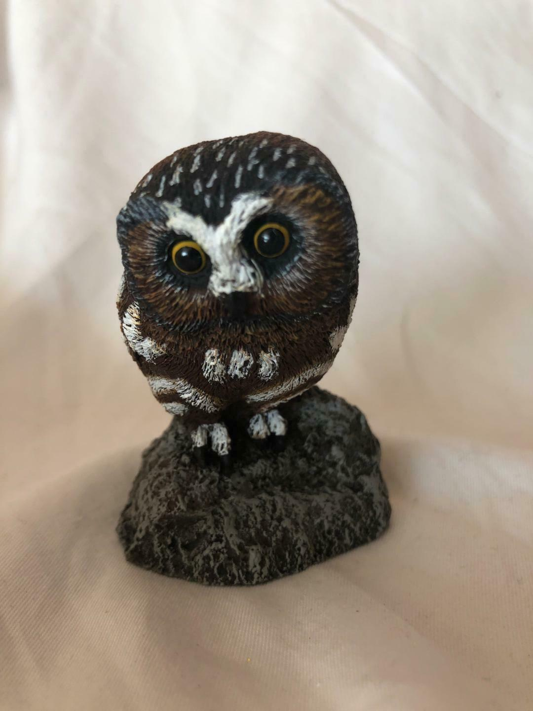 Cold Bronze Cast Owl Vintage Figurine Crafted and Hand Painted Made in U.S.A
